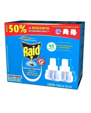 Inseticida Raid Elétrico 32,9Ml 45 Noites Refil 2X1